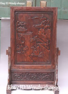 Chinese Rosewood Wood Carving Ancient Dragon landscape Tree House Screen Statue