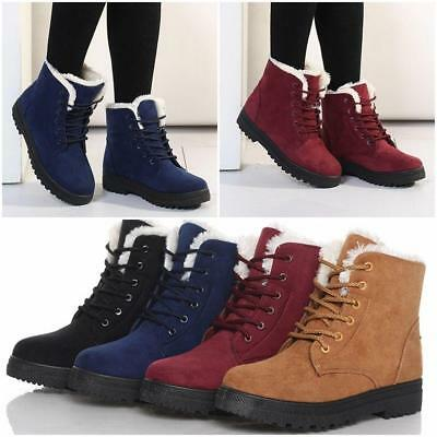 Women Winter Snow Ankle Platform Flat Boots Warm Fur Lined Lace Up Shoes SO