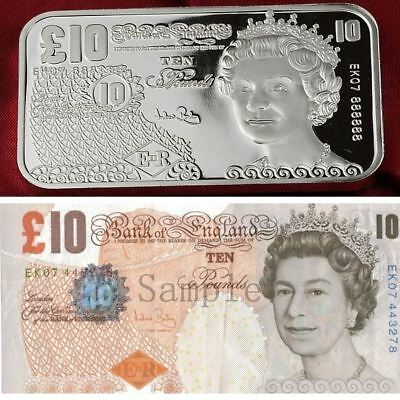 British 10 Pounds Currency Design, 1 Troy oz .999 Fine Silver Bullion bar. NEW!