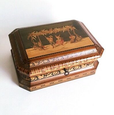 Antique Sorrento Ware Tunbridge Style Inlay Wood Jewelry Box w Lock 19th C Italy