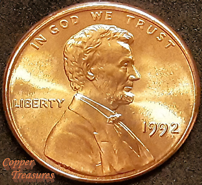 1992 P - Lincoln Memorial Cent FRESH FROM BANK ROLL