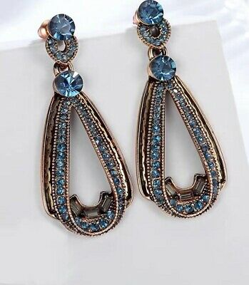Fashion Blue Crystal Ear Drop Dangle Stud long Ancient Silver Earrings