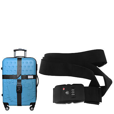 Black Adjustable TSA Approved Combination Lock Suitcase Travel Luggage Strap