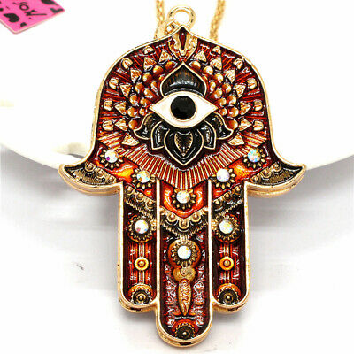 Bling Rhinestone Magic Ancient Egypt Eyes Palm Pendant Betsey Johnson Necklace