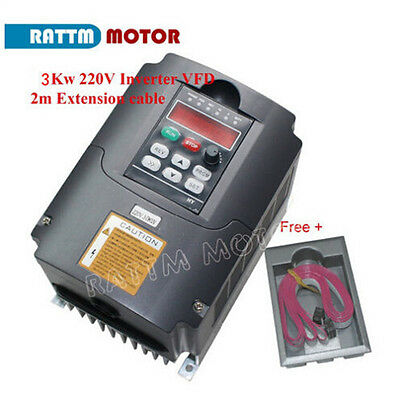 HY VFD 3KW 220V 4HP 13A Inverter Variable Frequency Drive VSD&2m extension cable