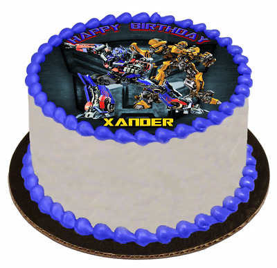 EDIBLE CAKE TOPPER Image Icing Sheet - Transformers Optimus Prime and Bumble Bee