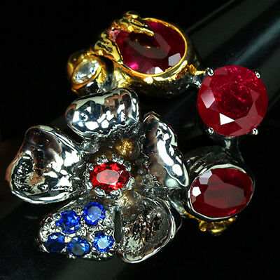 Confident Beauteous Natural Top Rich Red Pink Ruby-white Cz 925 Silver Enamel Flower Set Jewellery & Watches Fine Jewellery