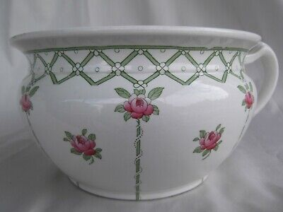 Vintage English chamber pot  bedroom potty jerry vase rosebuds on green trellis