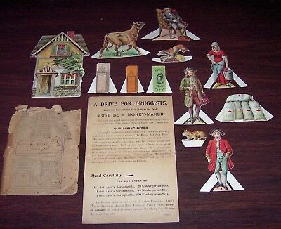 AYER'S Remedy HAIR VIGOR Paper Doll Set HOUSE THAT JACK BUILT 1897 Druggist Ad