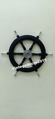 Nautical 18'' Wooden Ship Wheel Boat Maritime Steering Handcrafted Wall Decor