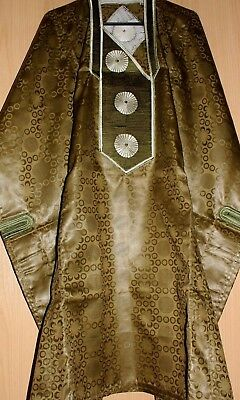 Classic-West-African-fully~embroiderered Swiss Brocade Green Danshiki ~Fast P&P!