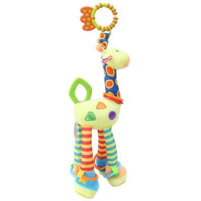 Plush Developmental Infant Baby Soft Giraffe Animal Handbells Rattles Toys SO