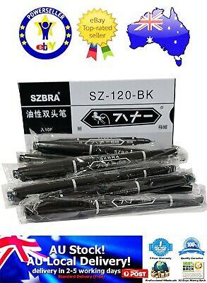 Double Ended Waterproof Permanent Oily Paint Marker Pen Set Black