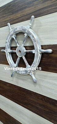 Nautical 12'' Wooden Ship Wheel Boat  Steering  Maritime Handcrafted Wall Decor