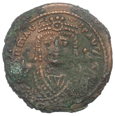 BYZANTINE BROZNE COIN FOLLIS MAURICE TIBERIUS LARGE M ANNO XI THEUP AE28 11,28g