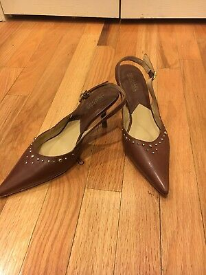 a94e0c200473 MICHAEL KORS Studded Brown Pointed Toe Slingback Sandals Heels Size 6.5  340