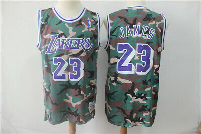 New Men's Los Angeles Lakers #23 LeBron James Basketball jersey camouflage S-XXL