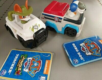 Paw Patrol Racers Tracker and Robo Dog New With Tags BNWT Lot of 2