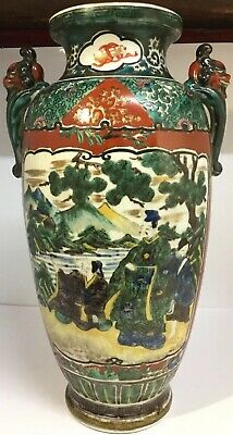 Antique Meiji Period Japanese Twin Handled Polychrome Vase Courtesans & Birds