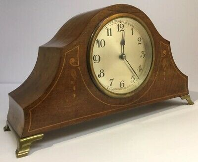 Antique Edwardian Inlaid Wood & Brass Cased Mechanical Mantel Clock c1900 & Key
