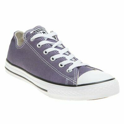 New Girls Converse Purple All Star Ox Canvas Trainers Lace Up