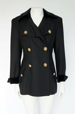 27947eb3f279a Vintage Moschino Cheap and Chic Black Lana Wool Coat Jacket Gold Buttons  Size 44