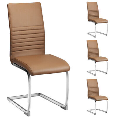 Set of 4 Kitchen Dining Chair High Back PU Leather with Chrome Metal Base Brown