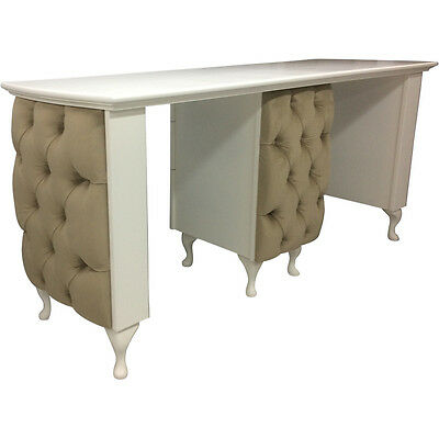 Double Manicure Desk - padded front - Shabby Chic - supplied with glass top