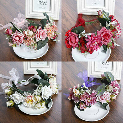 Flower Headband Head Garland Hair Band Crown Wreath Festival Boho Wedding