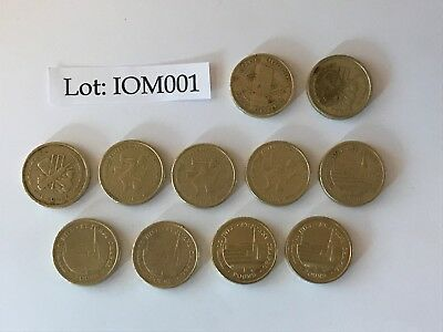 11 X Isle Of Man £1 Coins Circulated - All Different Dates