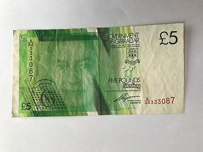 2011 Gibraltar £5 Banknote Serial A/Aa 333087 Vf*