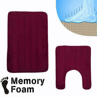 2 in 1 Bathroom Memory Foam Mat Toilet Non-slip Bathroom Rug Contour Pads MX