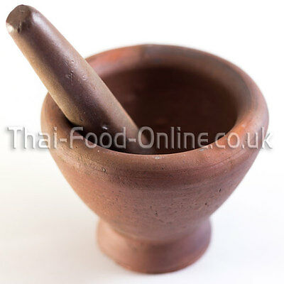 Authentic Thai Earthenware Pestle and Mortar (Laos style) 25cm  ** UK Seller **