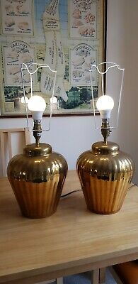 Pair of Vintage Antique Gold Metal Table Large Lamp Bases