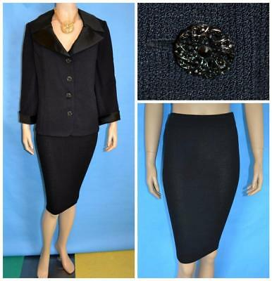 St John Evening Knit Black Jacket Skirt XL 16 14 12 2pc Suit Rhinestones Satin