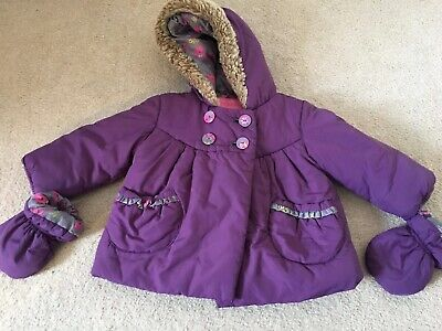 Stunning Marks And Spencers Girls Coat With Detachable Gloves  9-12 Months