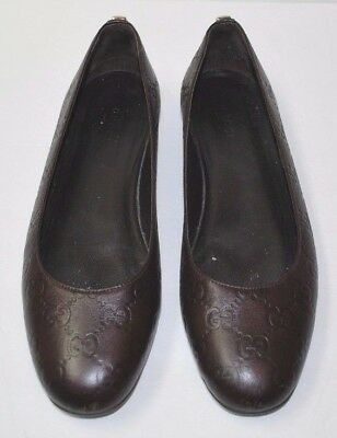 Beautiful Designer GUCCI Brown GG Logo Leather Shoes 38 ITALY