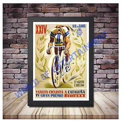 Vintage 1953 Vuelta Cataluna Spanish Cycle Race Poster Print A3//A4