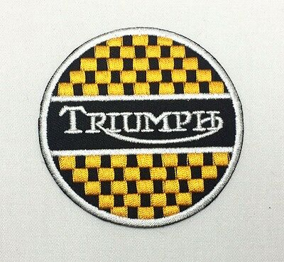 TRIUMPH Yellow Chequered Emblem Sew Iron-On Embroidered Applique Patch Badge