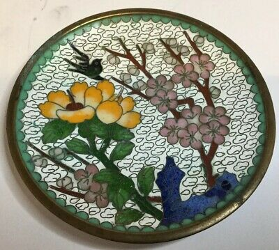 Vintage Chinese Cloisonne Prunus Blossom & Bird, Pin Dish / Tray / Ornament