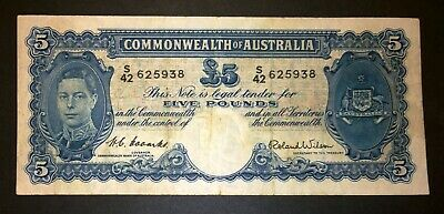 1952 Australia Coombs/Wilson £5 Five Pounds banknote