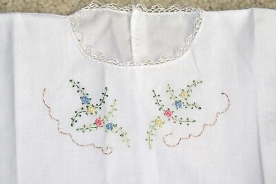 Vintage baby dress gown shirt white hand embroidered