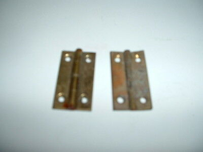 "Vintage 2 Pairs 1 1/4"" X 11/16""  Brass Butt Hinges No 2 Screws Nos"