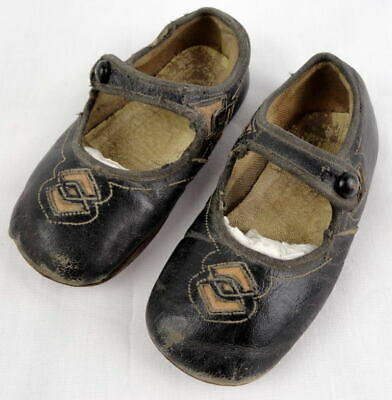 17419a4f36c1f VTG. ANTIQUE VICTORIAN Baby Shoes Black Leather Mary Jane Child Doll Toddler