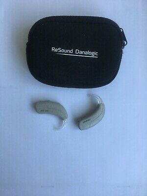 2x Resound danalogic hearing aids ife91-dvi With Storage Pouch