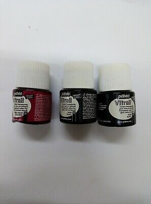 3X Pebeo Vitrail (2 Black 1 Old Pink) Glossy Glass Paint Effect Transparent 45ml