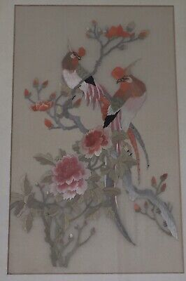 Large, Vintage, Oriental Embroidered Picture Of Exotic Birds, Framed
