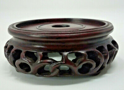 "Vintage Chinese Hardwood Pot Vase Stand 2¼"" 58mm four footed"