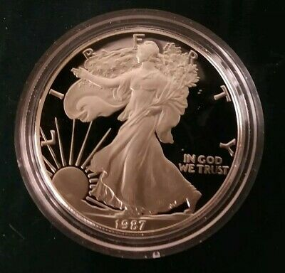 1986 S 1 oz Silver American Eagle Proof in OGP with COA