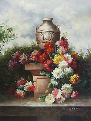 """Mums and Other Flowers Original Hand Painted 12""""x16"""" Oil Painting Floral Art"""